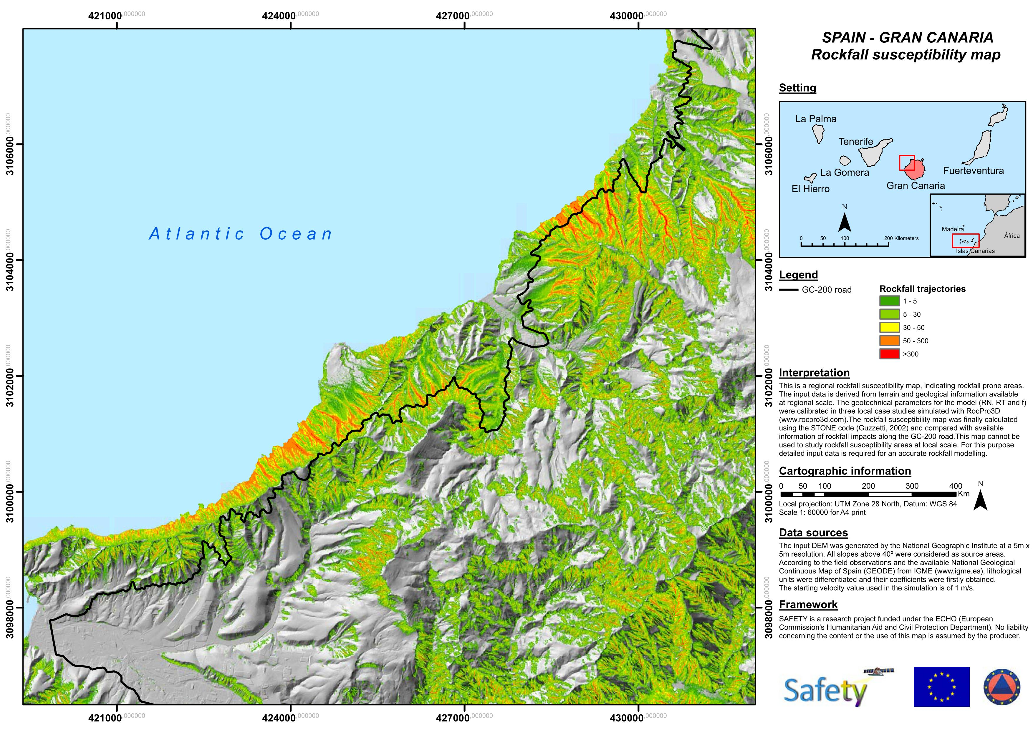 SAFETY Rockfall susceptibility map