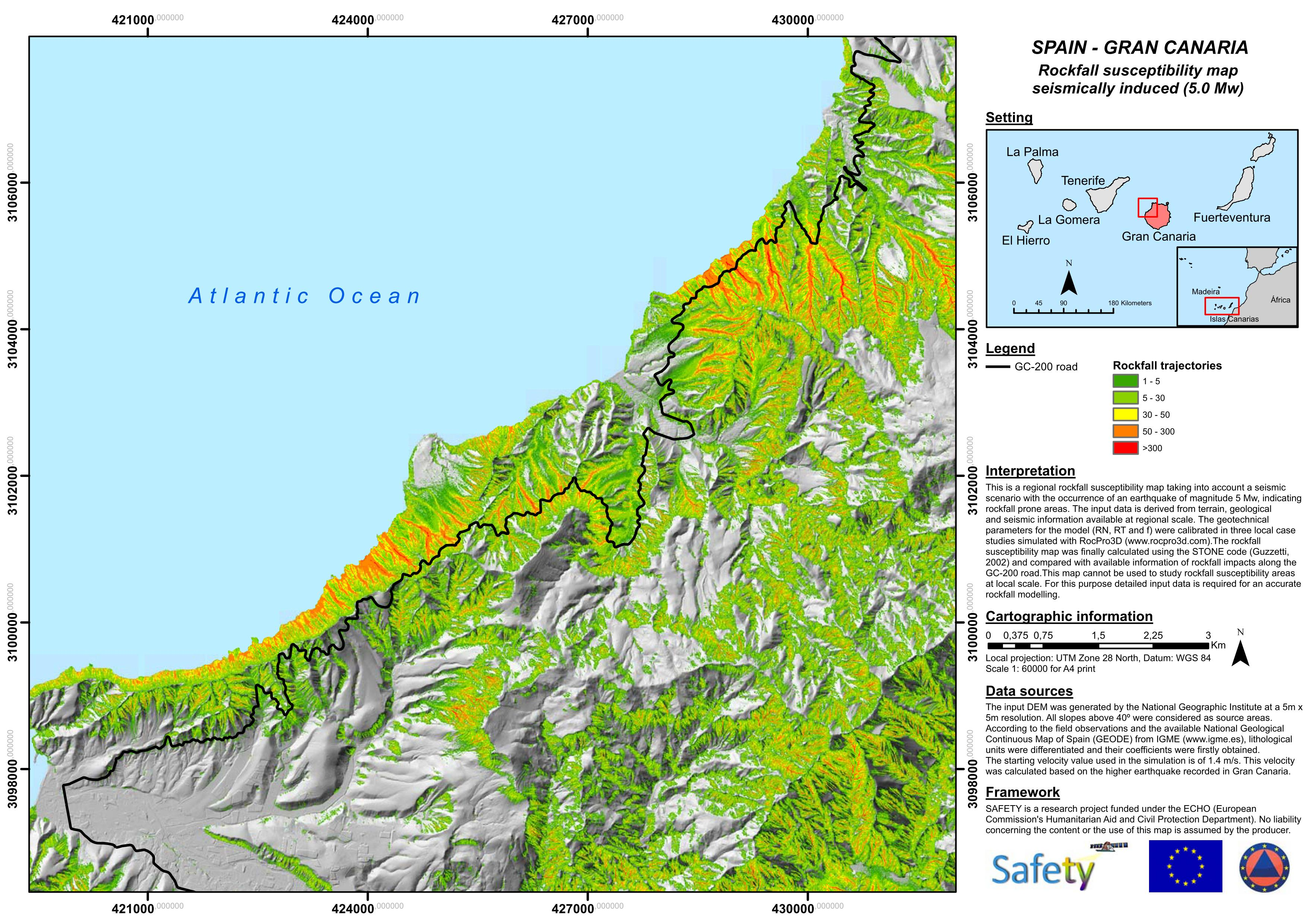 SAFETY Rockfall susceptibility map seismically induced